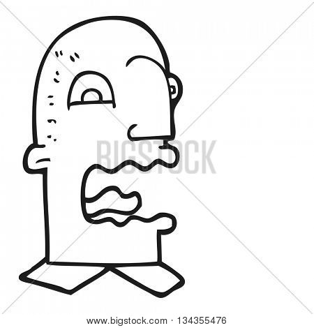 freehand drawn black and white cartoon burping man
