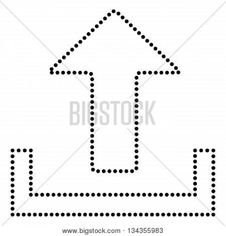 Upload sign illustration. Dot style or bullet style icon on white.