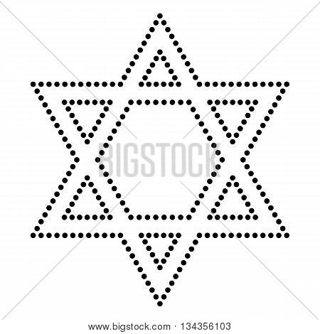 Shield Magen David Star. Symbol of Israel. Dot style or bullet style icon on white.