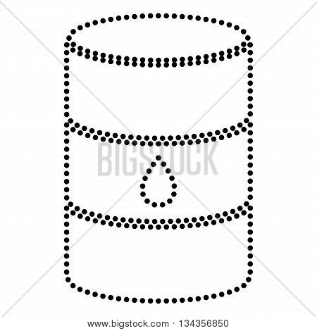 Oil barrel sign. Dot style or bullet style icon on white.