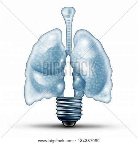 Lung health ideas as a human cardiovascular organ shaped as a lightbulb or light bulb as a medical metaphor for diseases of the lungs solution and asthma therapy treatment with 3D illustration elements.