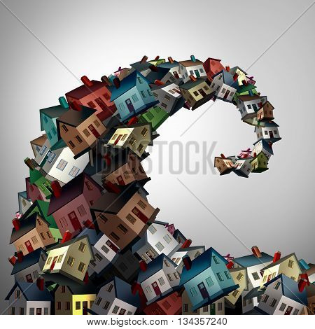 Housing crisis concept as a group of family homes shaped as an ocean wave as a real estate or residential property metaphor for risk and debt danger as a 3D illustration.