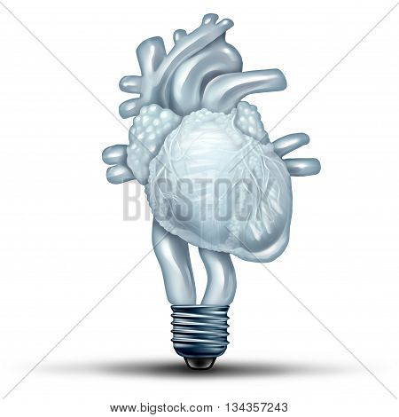 Heart health solution as a human cardiovascular organ shaped as a lightbulb or light bulb as a medical and medicine metaphor for healthy body ideas and blood flow therapy treatment thinking with 3D illustration elements.