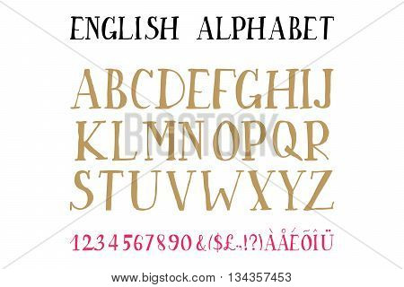 Retro alphabet font. Type letters and numbers Vector design elements. 10 eps