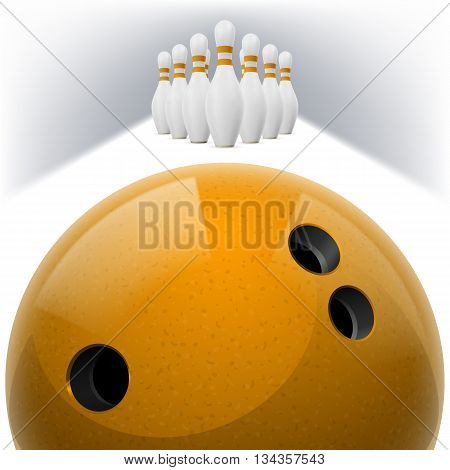 Yellow Bowling ball with holes in front. White skittles with red stripes on a white background