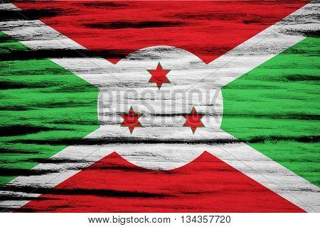 Burundi Flag painted on wood texture texture background