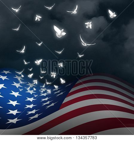 American freedom concept as the flag of the United States with the stars transforming into white doves as a patriotic and national rememberance and memorial independence celebration with 3D illustration elements.