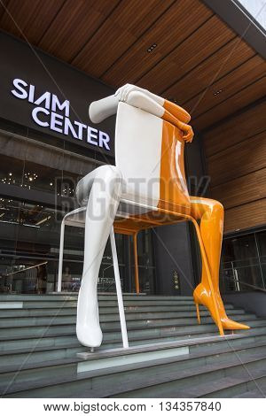BANGKOK THAILAND - MAY 29 : decoration mascot in front of Siam Center shopping mall in siam square on may 29 2016 thailand. siam square is famous shopping place of Bangkok