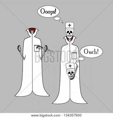 Two skeletons of a doctor. Funny cartoon skeletons doctor. Skeleton doctor says. Skeleton doctor holding a part of the skeleton.