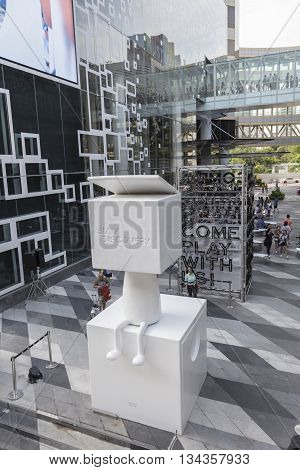 BANGKOK THAILAND - MAY 29 : mascot of Siam Discovery in space between Siam Center and Siam Discovery after renovate in siam square on may 29 2016 thailand. siam discovery is one of popular shopping mall in bangkok
