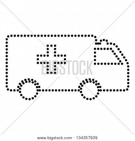 Ambulance sign illustration. Dot style or bullet style icon on white.