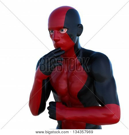 a young man in red black super suit. In a thoughtful pose. Latex. 3D rendering, 3D illustration