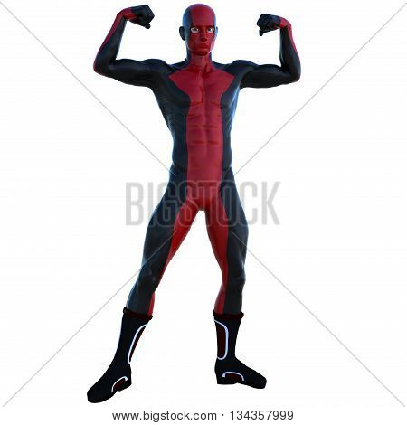 a young man in red black super suit. Standing showing his muscles. Latex. 3D rendering, 3D illustration