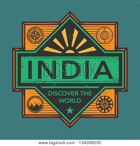 Stamp or vintage emblem with text India, Discover the World, vector illustration