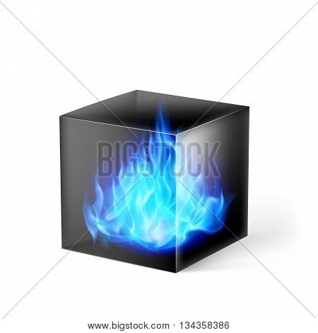 Black cube with blue fire flames inside on white