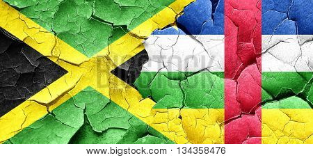 Jamaica flag with Central African Republic flag on a grunge crac