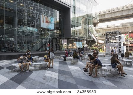 BANGKOK THAILAND - MAY 29 : unidentified people in activity space at Siam Center after renovate in siam square on may 29 2016 thailand. siam square is one of landmark for tourist in bangkok