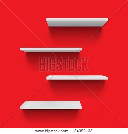 Horizontal gray bookshelves on red wall for design