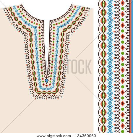 Neckline ethnic print design and border ethnic pattern vector for ethnic fashion