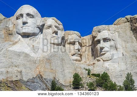 Mount Rushmore National Memorial - Sculpture With Faces Of Four American Presidents: Washington, Jef