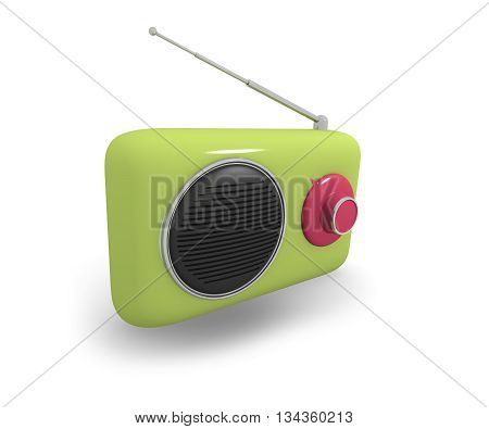 Green vintage style radio on a white background 3d rendering