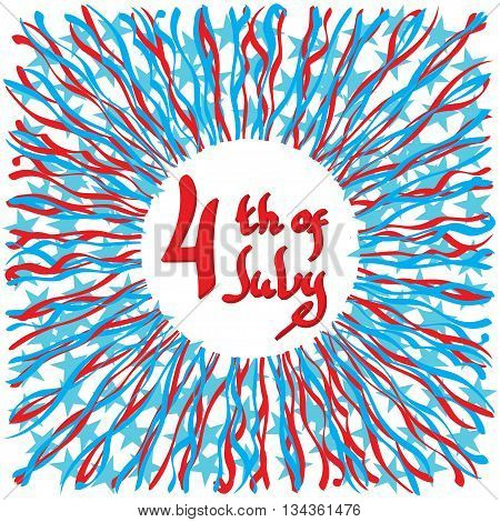 Fourth of July United Stated independence day greeting. July 4th typographic design. Usable for greeting cards banners print.