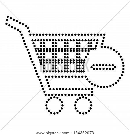 Vector Shopping Cart with Remove sign. Dot style or bullet style icon on white.
