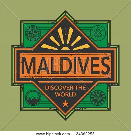 Stamp or vintage emblem with text Maldives, Discover the World, vector illustration
