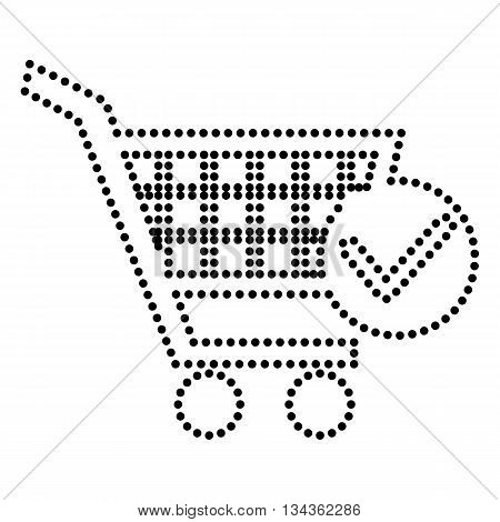 Shopping Cart with Check Mark sign. Dot style or bullet style icon on white.