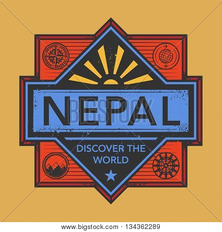 Stamp or vintage emblem with text Nepal, Discover the World, vector illustration