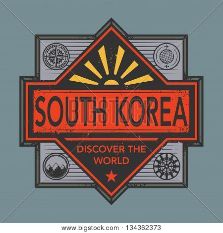 Stamp or vintage emblem with text South Korea, Discover the World, vector illustration