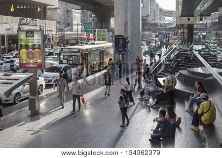 BANGKOK THAILAND - MAY 29 : people in bus stop at Siam center in siam square on may 29 2016 thailand. siam square is famous shopping place of Bangkok