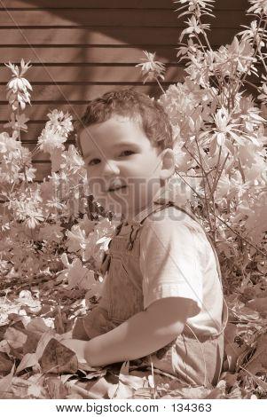 Infrared Boy Sitting