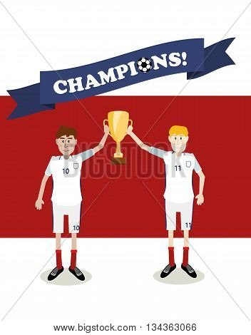 vector illustration of England national soccer players holding champions winner trophy cup