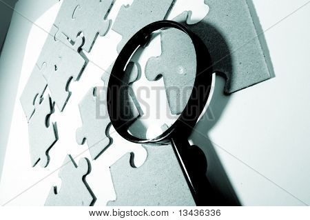Magnifying glass, puzzle
