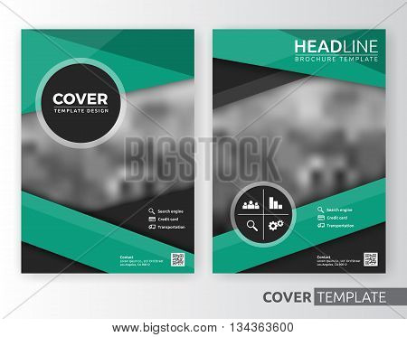 Abstract cover design suitable for flyer brochure book cover and annual report. Green and white color A4 size template background with bleed. Vector illustration