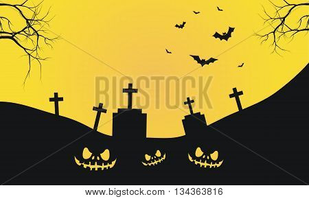 Halloween with graves and scary face silhouette yellow backgroounds