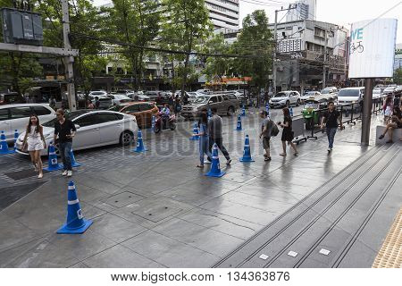 BANGKOK THAILAND - MAY 29 : unidentified people on walking street near Siam Square One in siam square on may 29 2016 thailand. siam square is famous shopping place of Bangkok