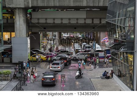 BANGKOK THAILAND - MAY 29 : traffic of people on walking street at siam square on may 29 2016 thailand. siam square is famous shopping place of Bangkok
