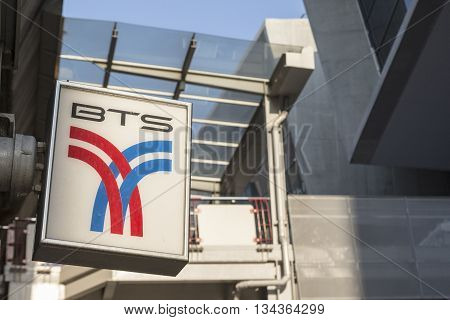BANGKOK THAILAND - APRIL 24 : BTS Bangkok public transport at BTS siam station on april 24 2016 thailand. BTS Bangkok Mass Transit System accommodate over 700000 passenger per day