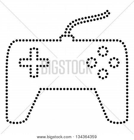 Joystick simple sign. Dot style or bullet style icon on white.