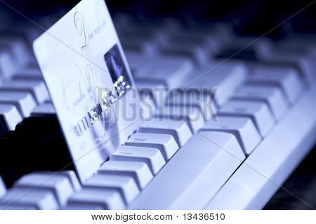 creditcard ready for payment on the keyboard