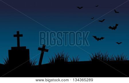 Graves and bat halloween backgrounds silhouette vector
