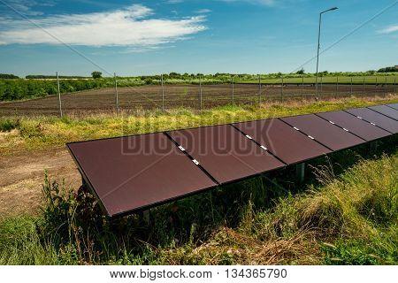 Solar panel photovoltaic - selective focus copy space