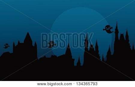 Silhouette of halloween castle and ghost at the night