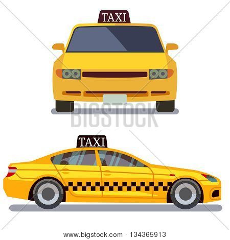 Taxi car on white vector illustration. Taxi car front and side view