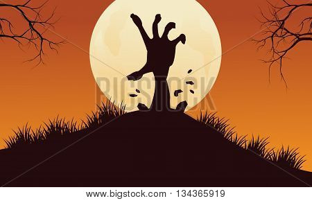 Scary hand zombie halloween backgrounds with full moon