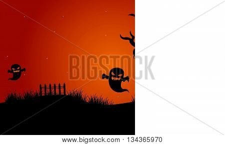 Halloween ghost and dry tree scary silhouette vector