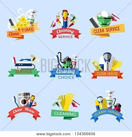 Cleaning emblem set with ribbons and descriptions of clean time cleaning service cleaning house vector illustration