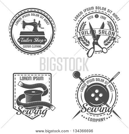 Tailor detail emblem or label set with descriptions of tailor shop salon and company in different shapes vector illustration